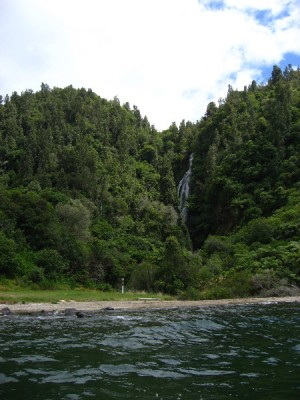 Waterfall at Waihi Village viewed from Lake Taupo