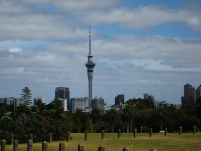Auckland's Skytower viewed from the Auckland Domain