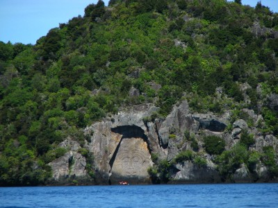 Maori Carvings face South, so be carefull not to paddle past them