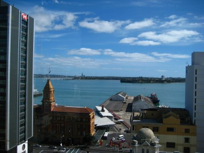 View of the marina and city from Vertigo Restaurant, Auckland, NZ